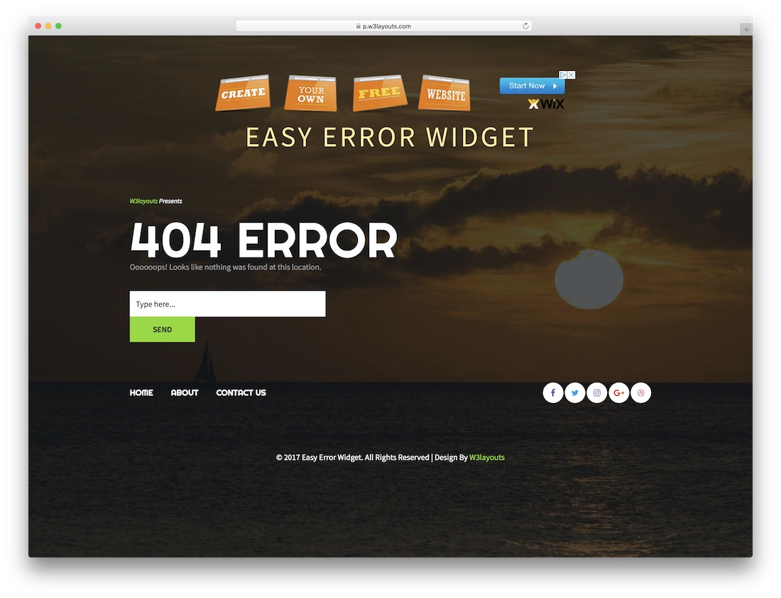 easy error widget free 404 error page template
