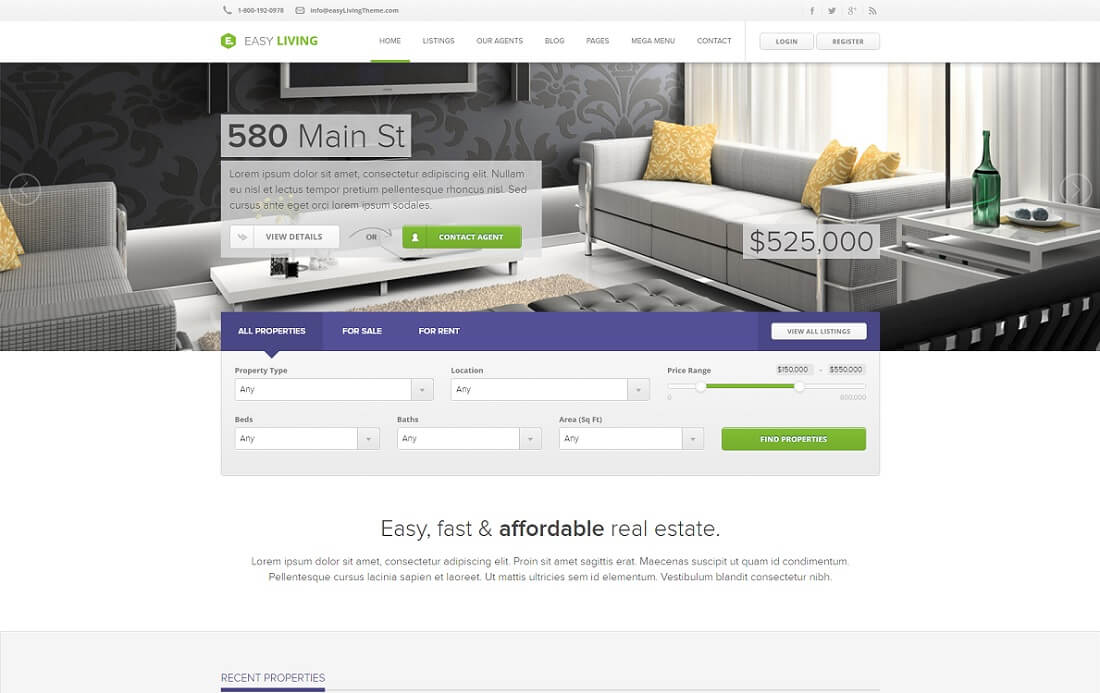 easy living bootstrap business website template