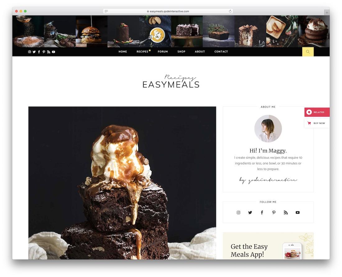 easymeals wordpress food blog theme