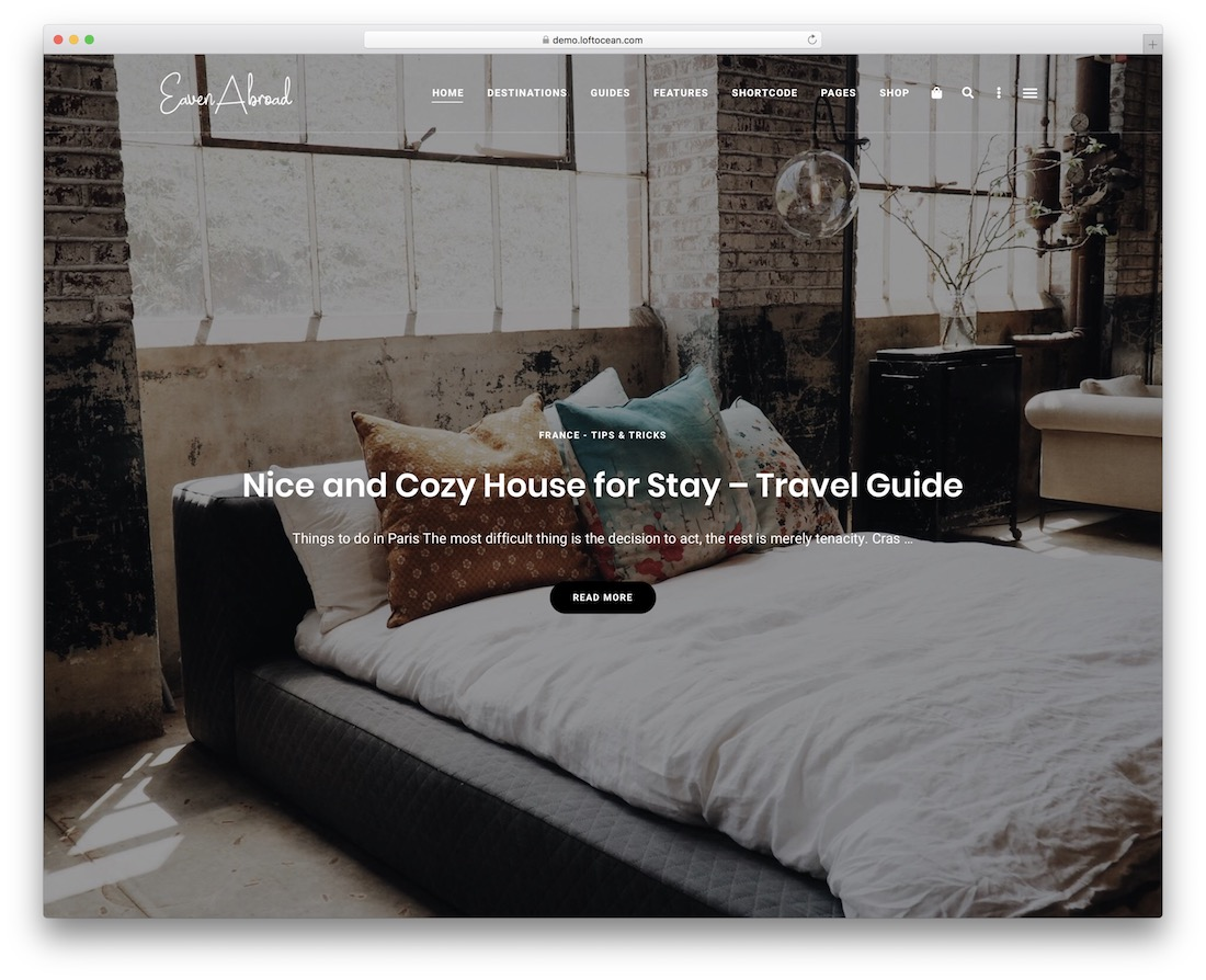 eaven wordpress travel theme