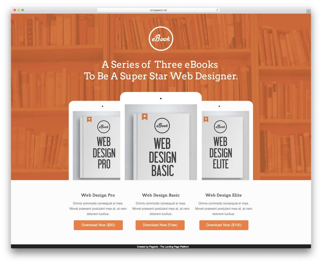 ebook demustang pagewiz landing page template
