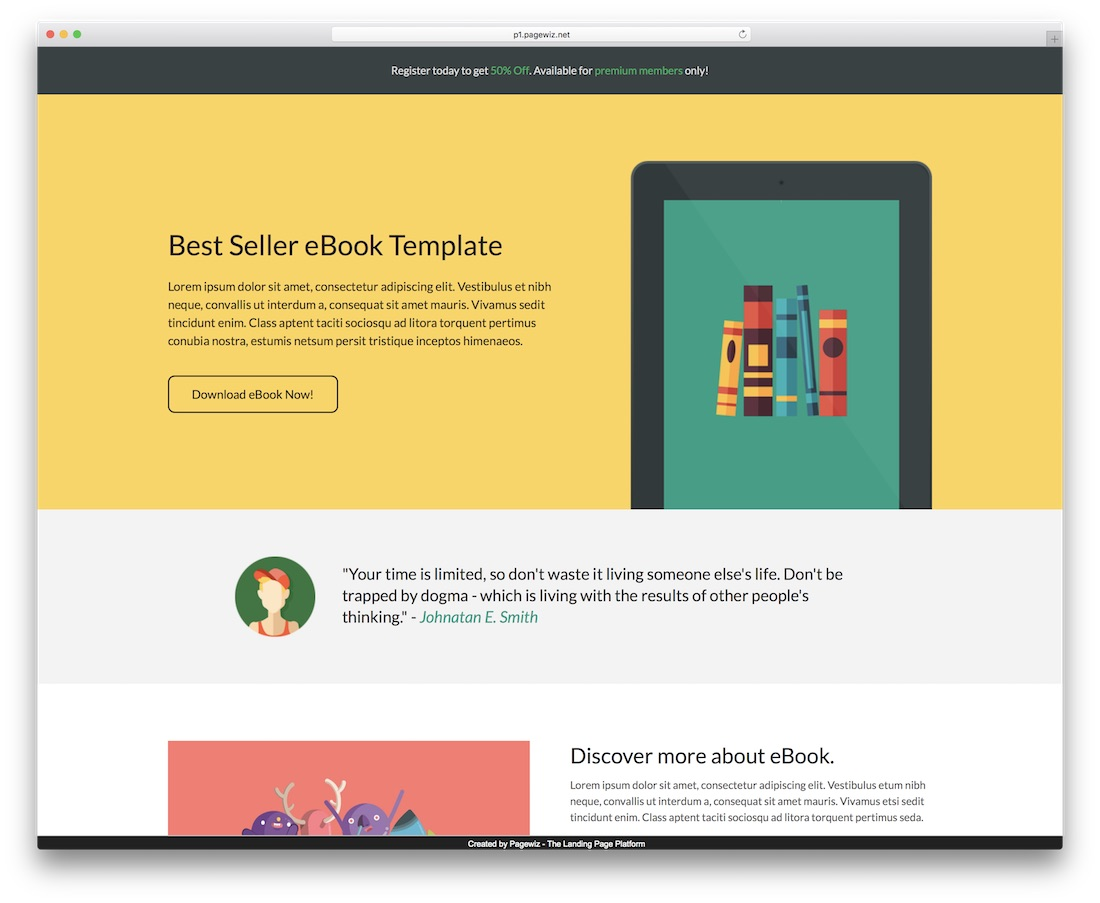 ebook pagewiz landing page template