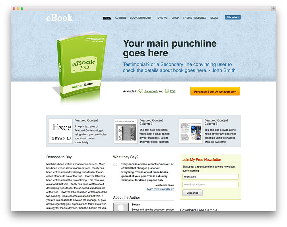 Ebook  Classic Ebook Wordpress Theme