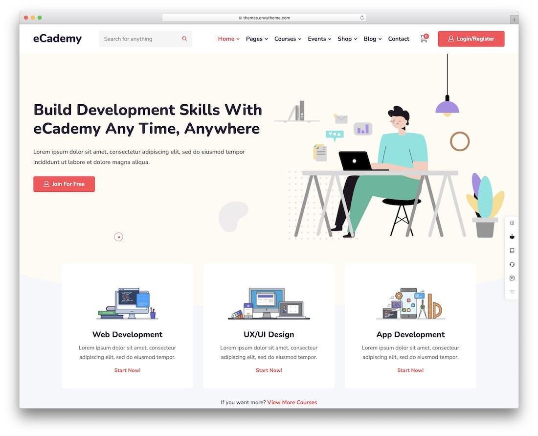 ecademy education wordpress theme