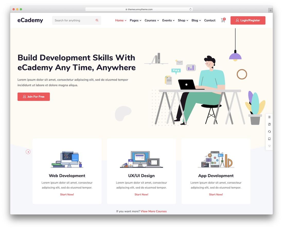 ecademy school website template