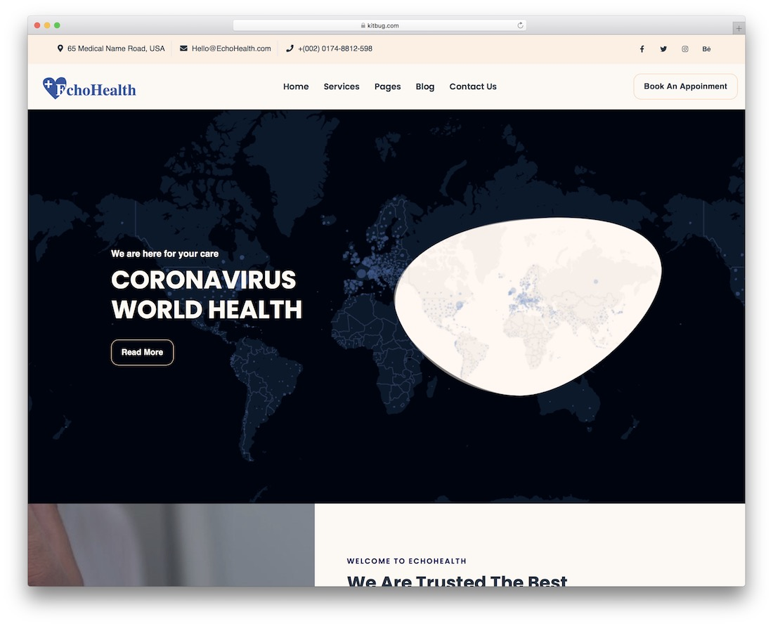 echo health free full screen wordpress theme