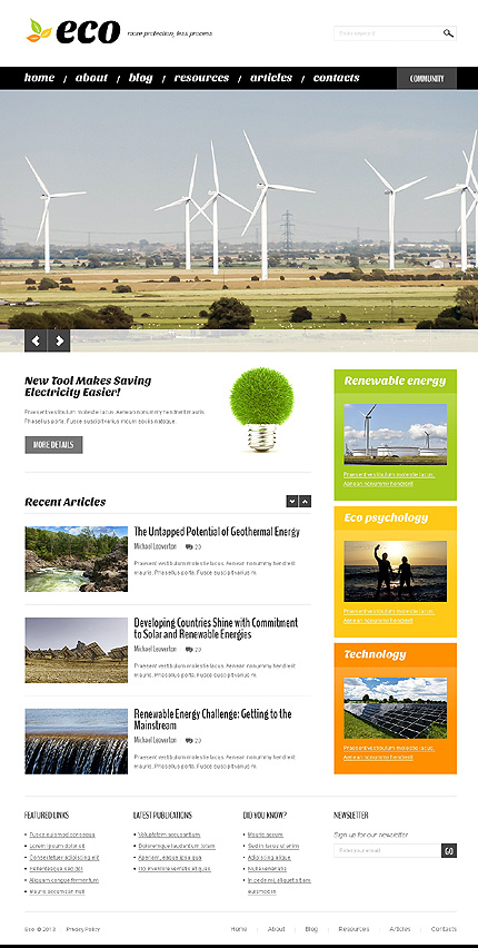 Wind Energy WordPress Theme