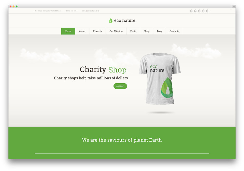 eco nature green living woocommerce theme