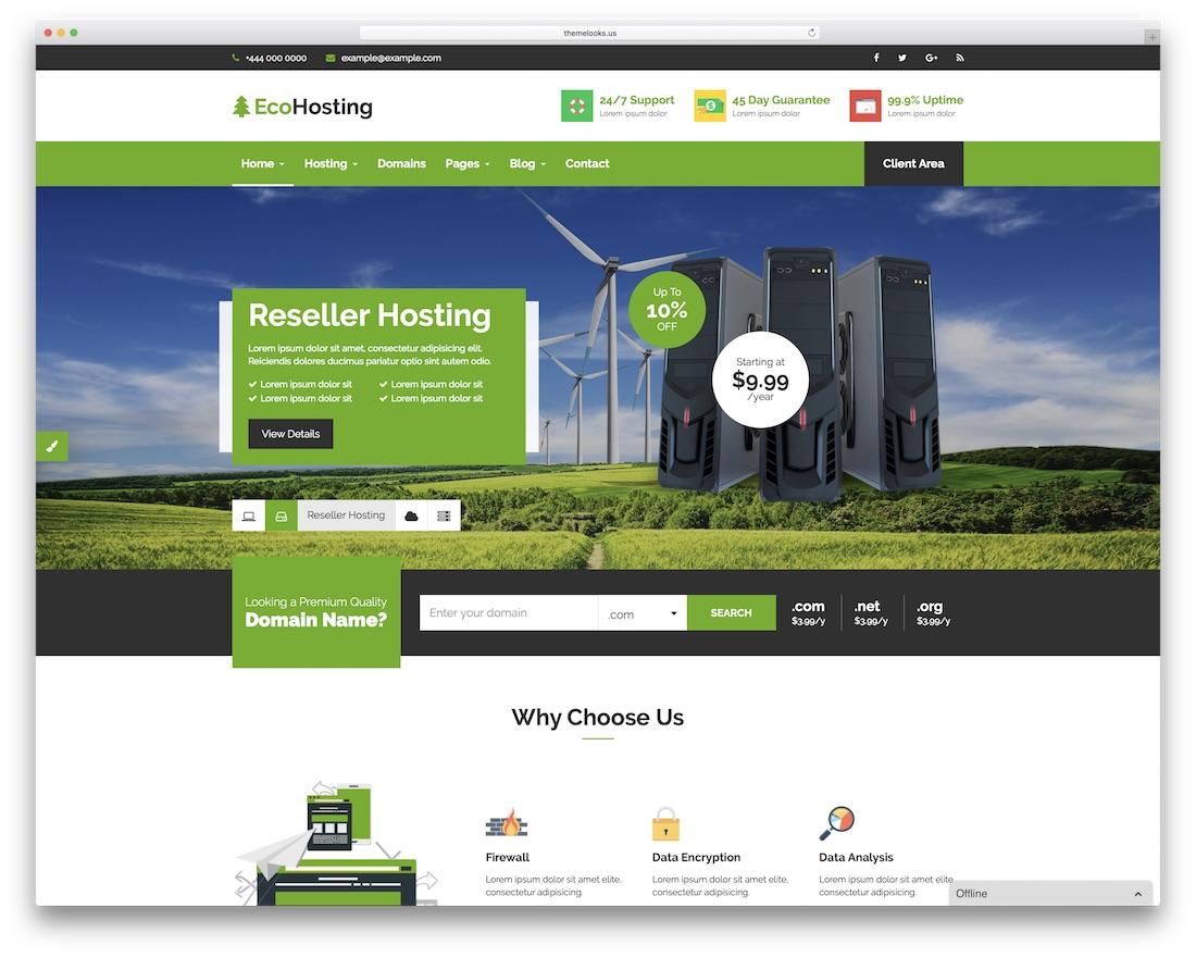 ecohosting HTML web hosting website template