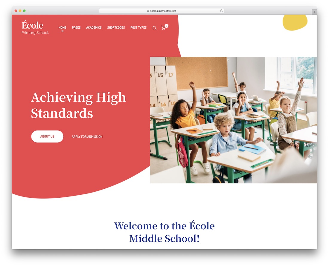 ecole elementary school wordpress theme