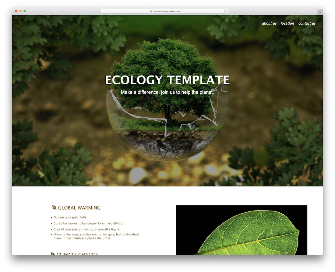 ecology free adobe muse template