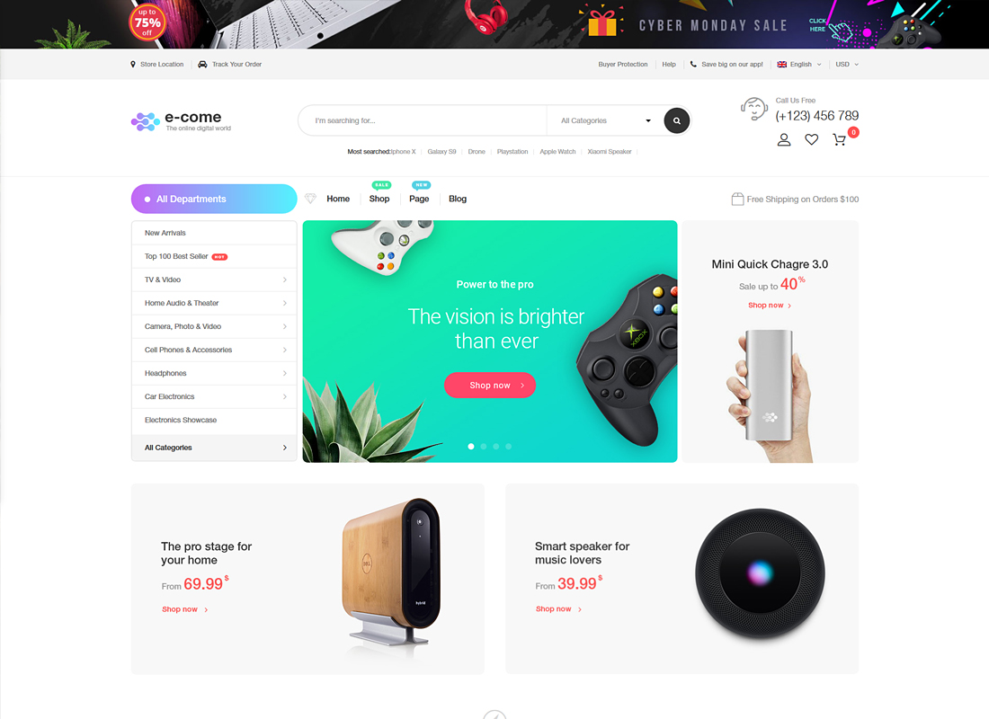 Ecome | Electronics Store WooCommerce Theme + RTL Support