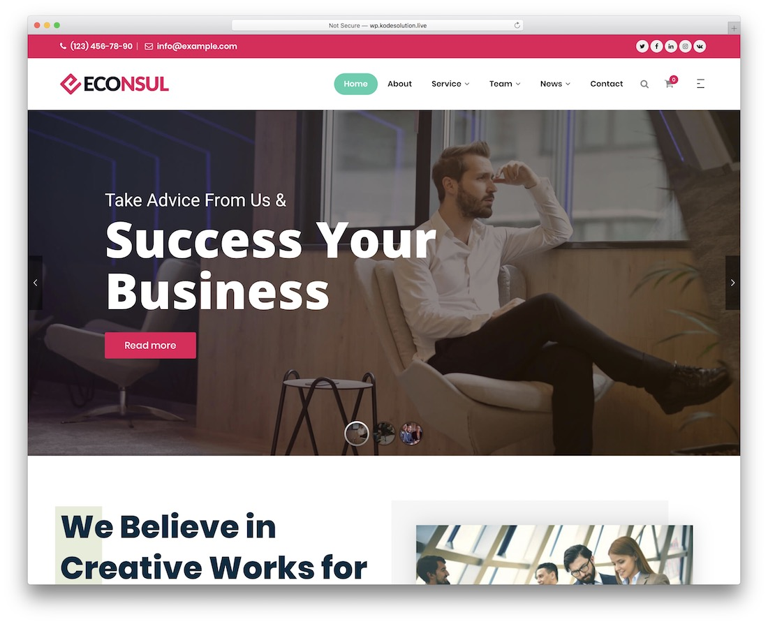 econsul financial company wordpress theme