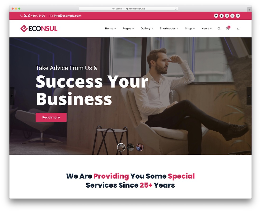 econsul financial website template