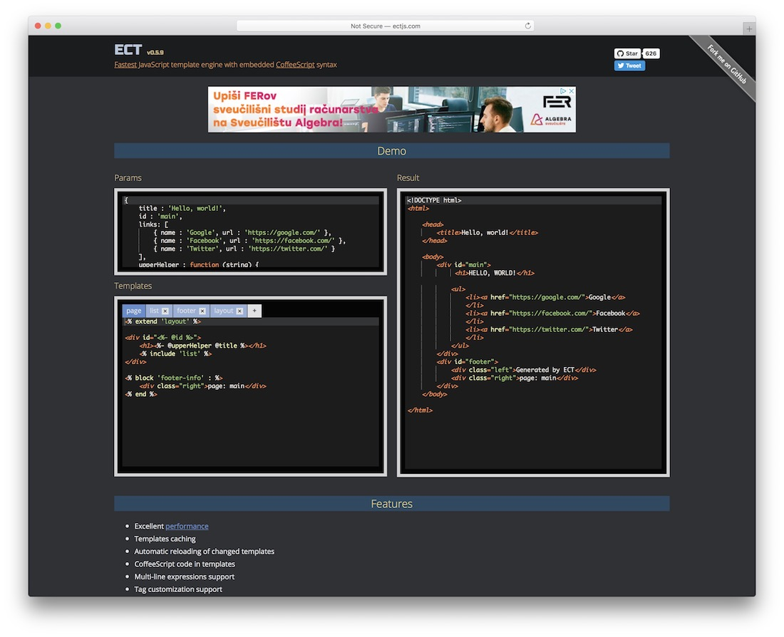 ect fastest templating engine for javascript