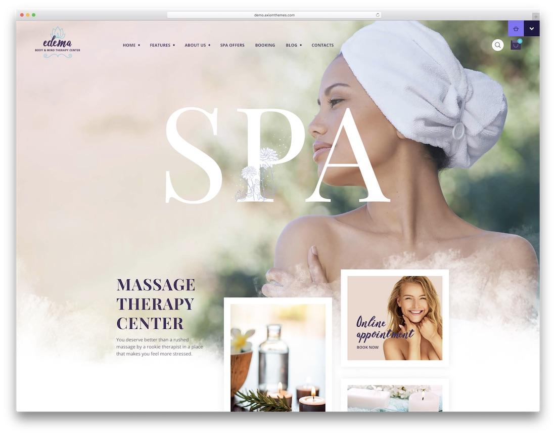 edema spa salon wordpress theme