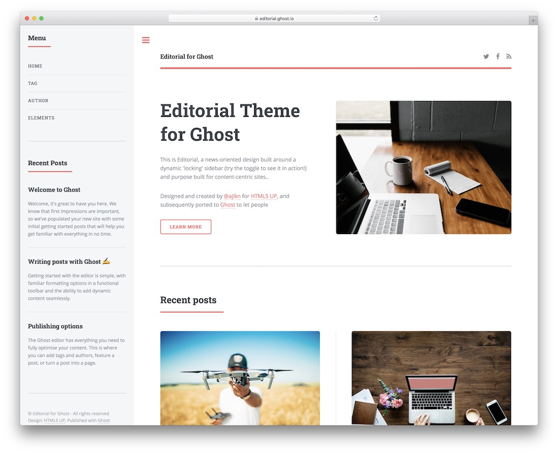 editorial free ghost theme