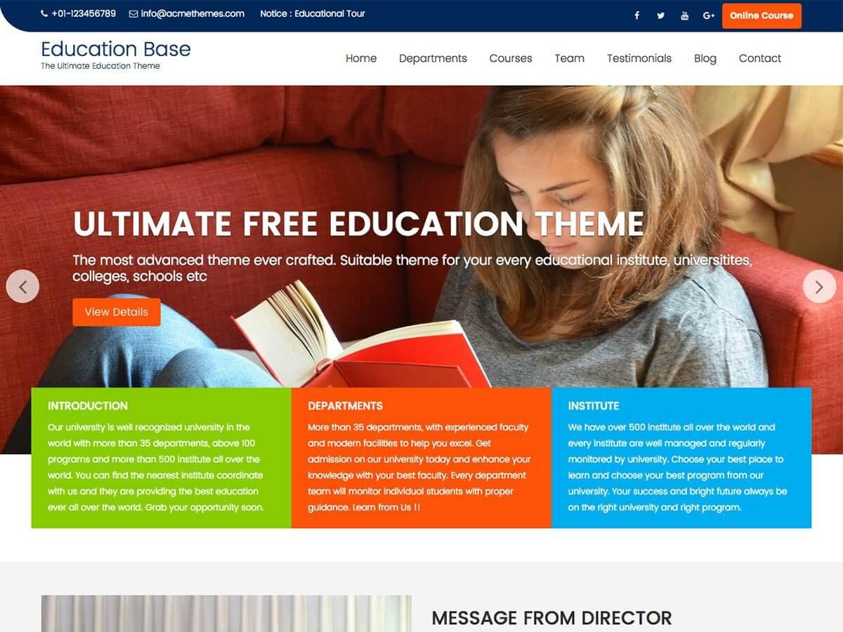 Education Base WordPress Education Theme
