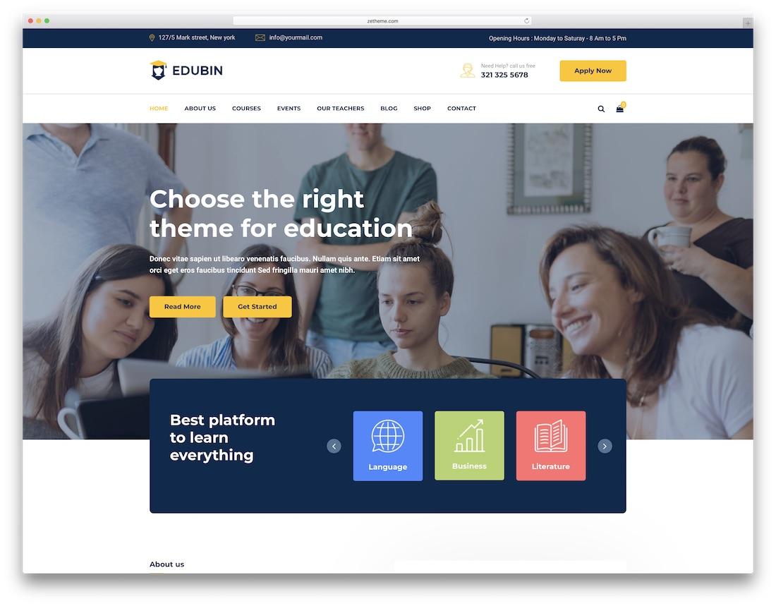 edubin school website template
