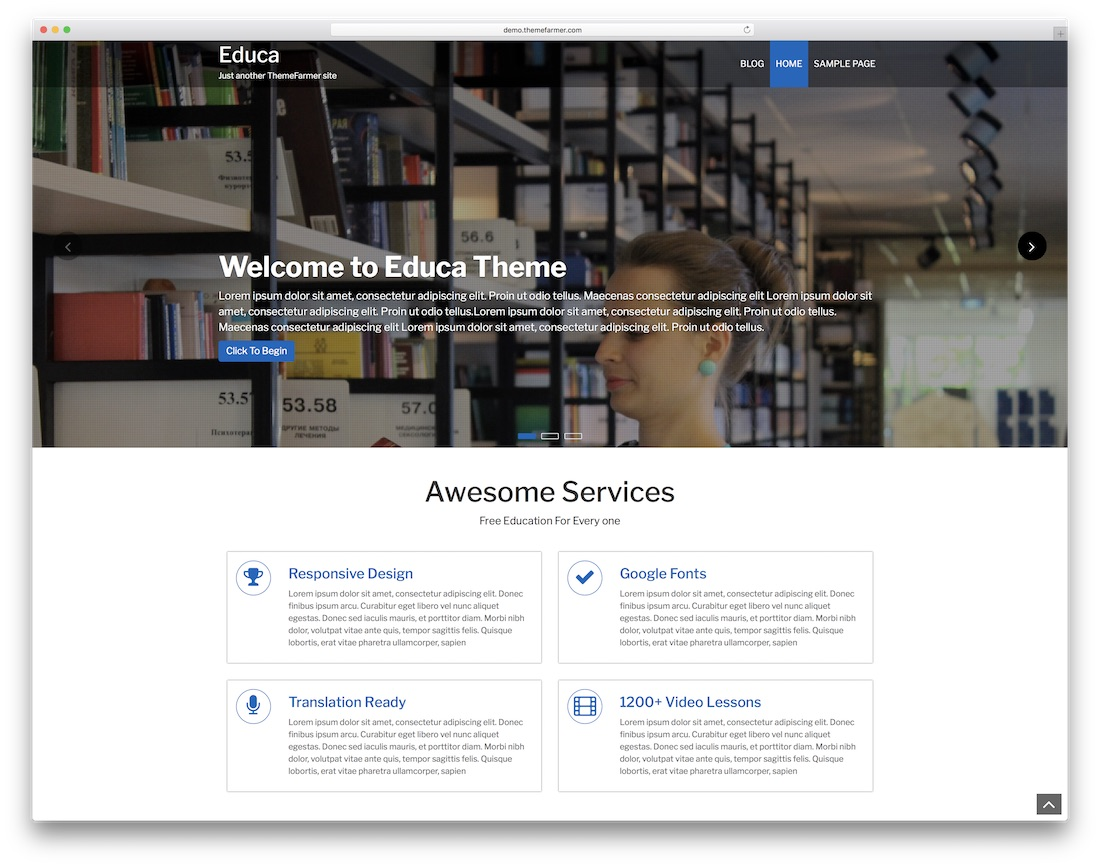 educa free website template