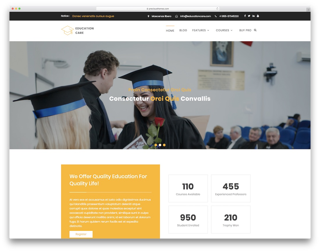 education care free website template