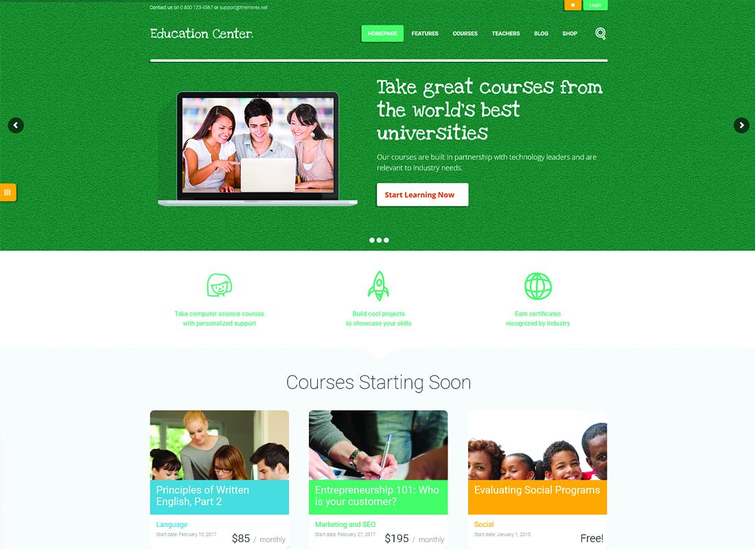 Education Center - Training Courses WordPress Theme