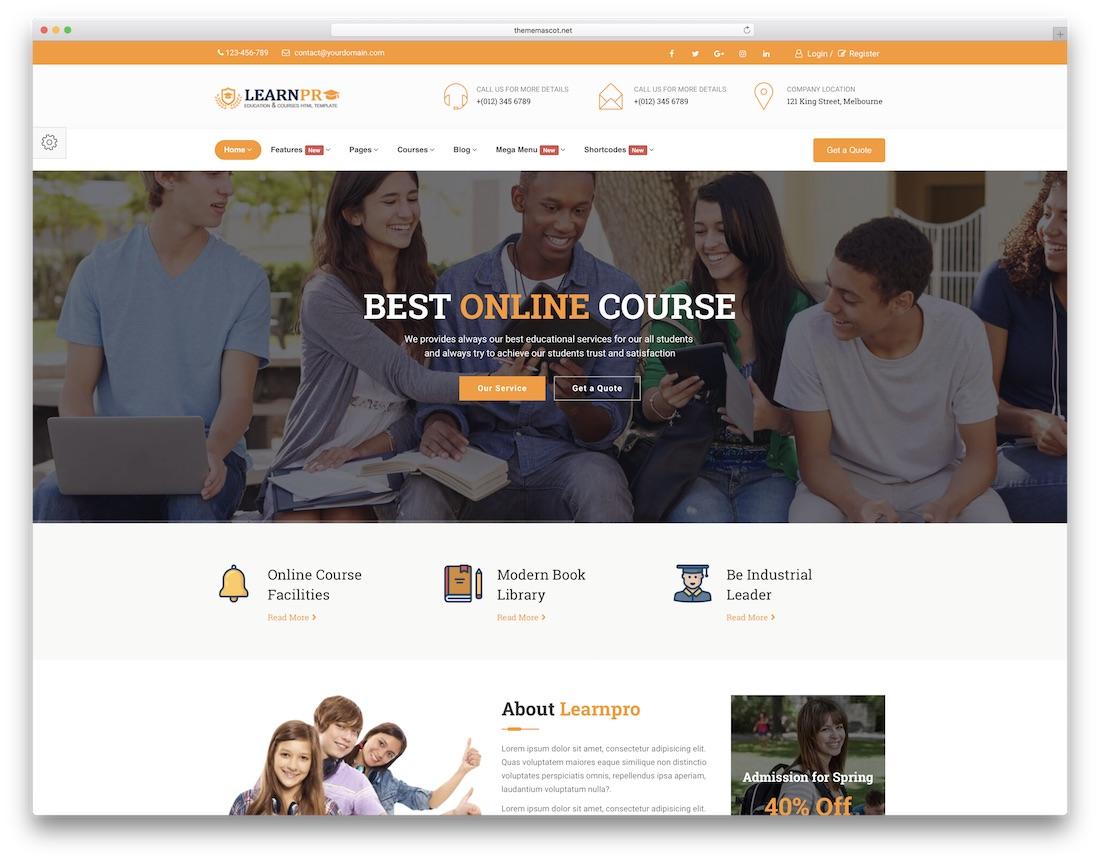 education course mobile friendly website template