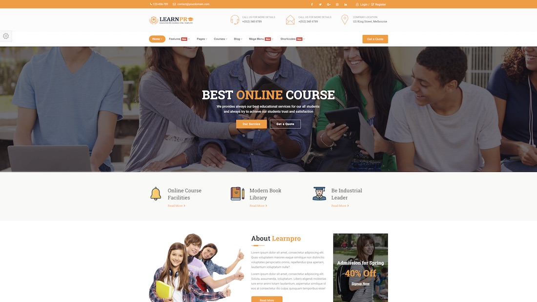 education course mobile-friendly website template