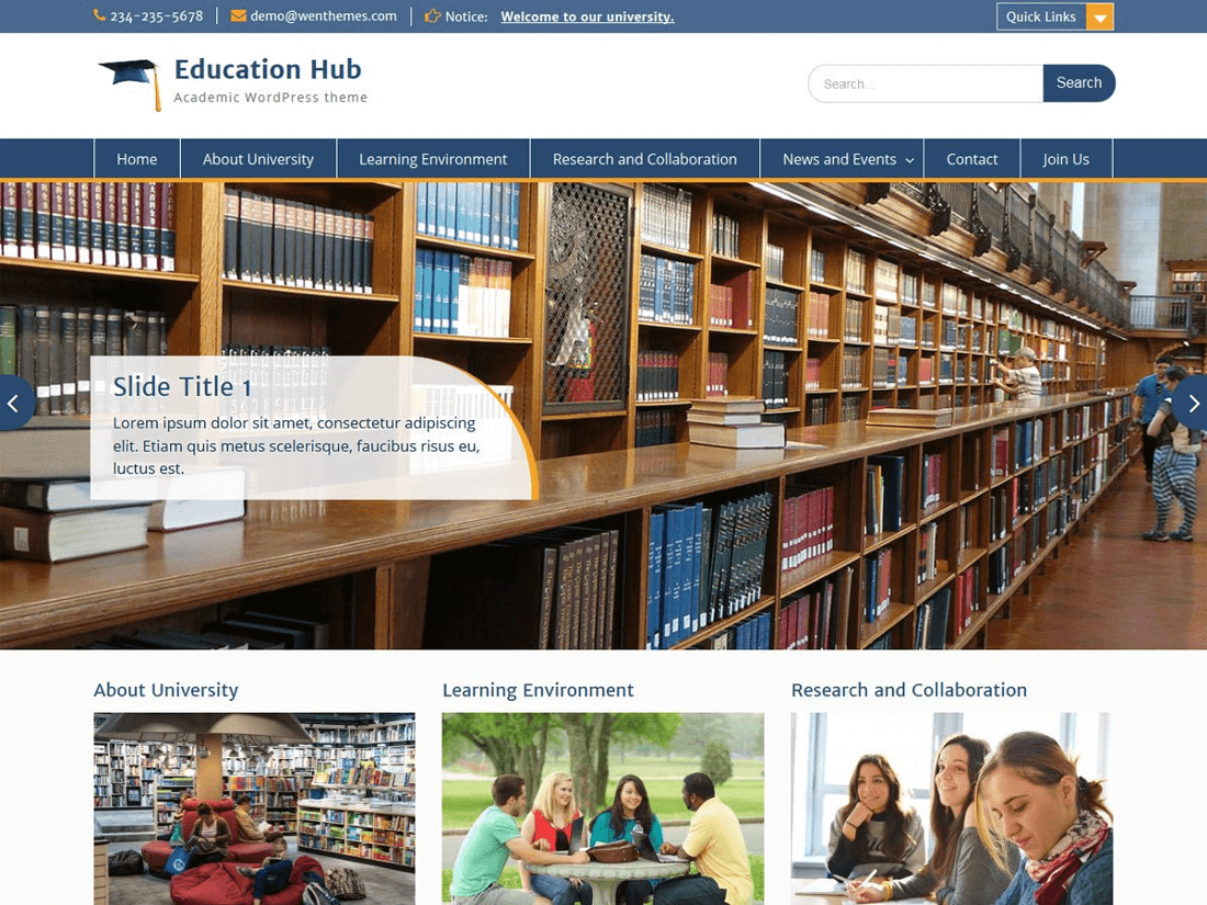Education Hub WordPress Education Theme