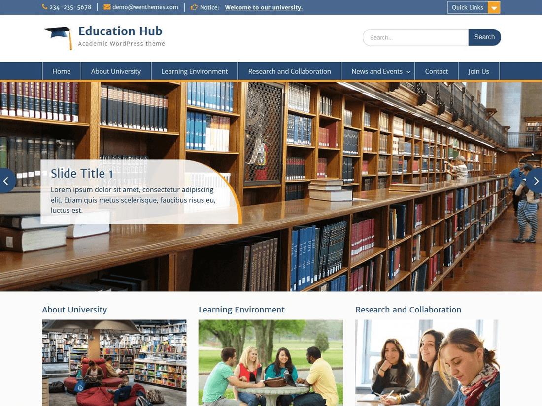 Education Hub WordPress Education Theme