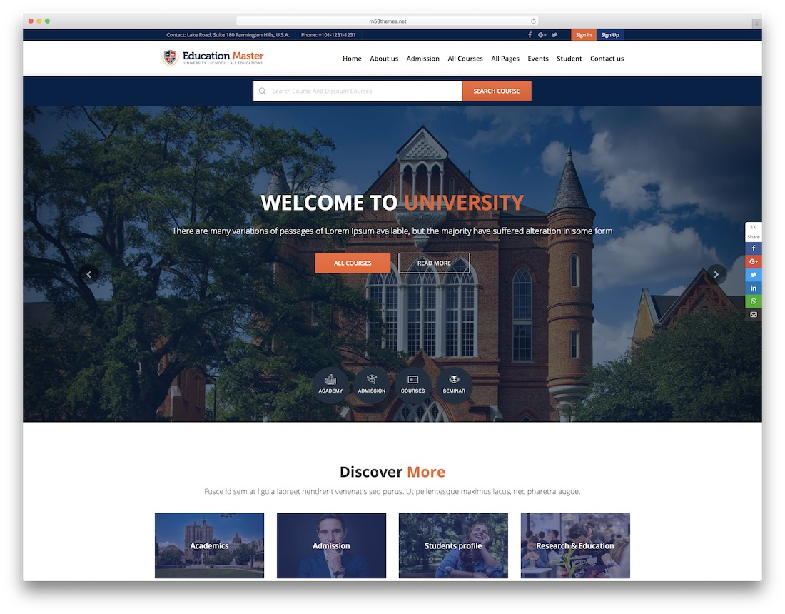 education master school website template