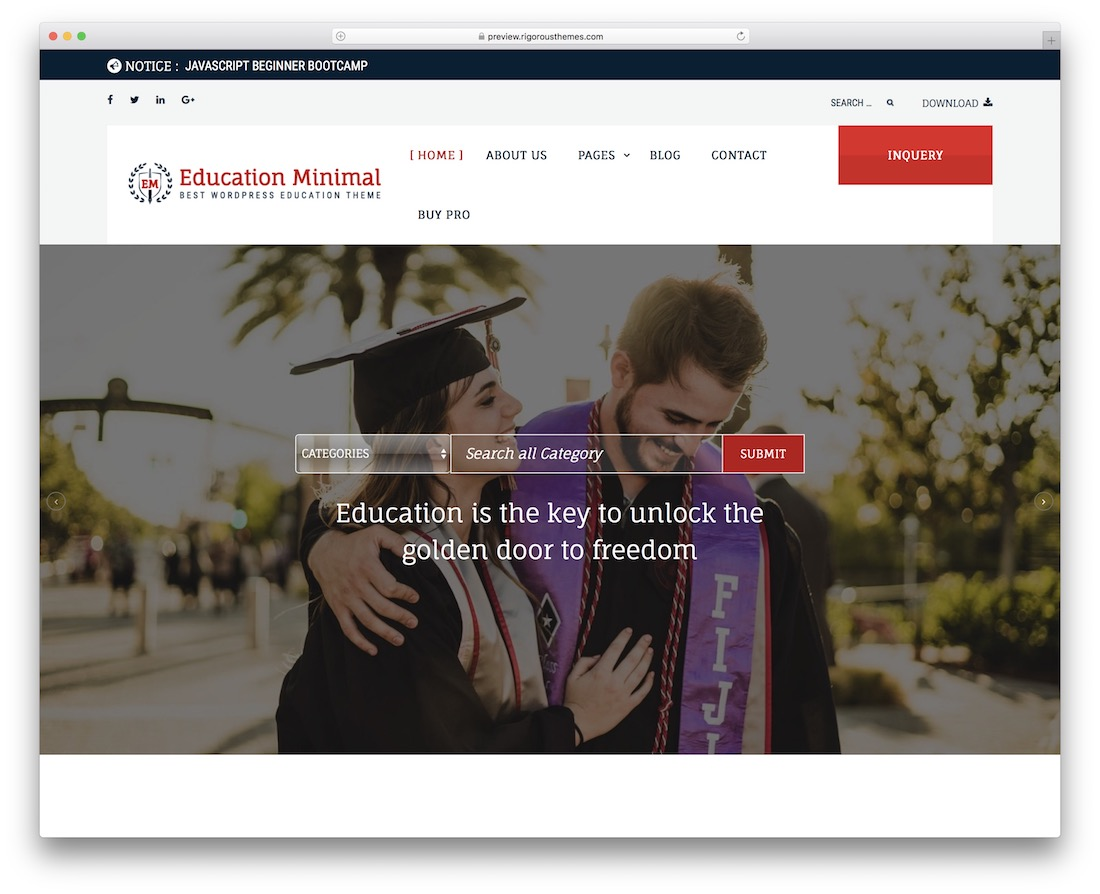 education minimal free wordpress theme