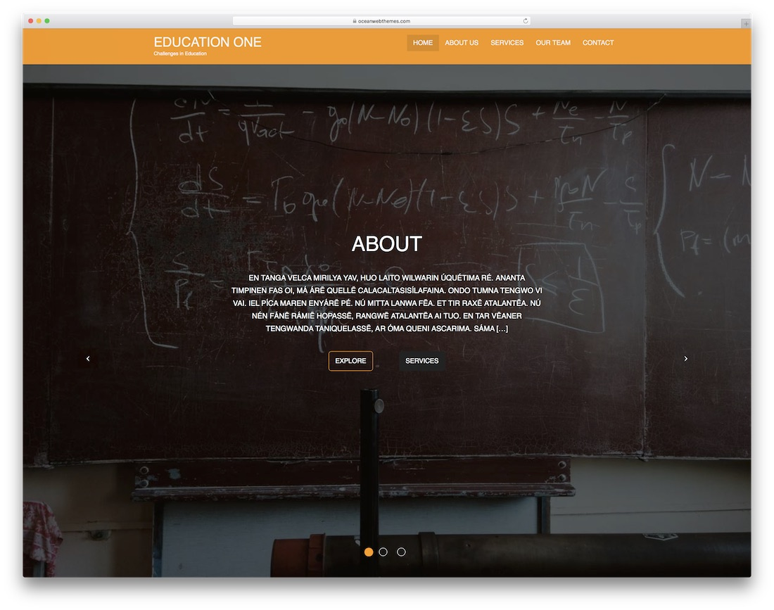 education one free website template