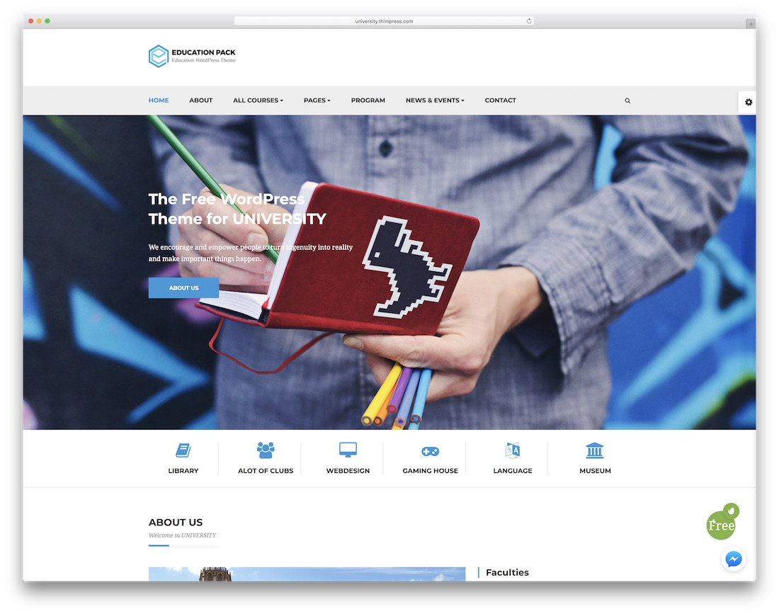 education pack free website template