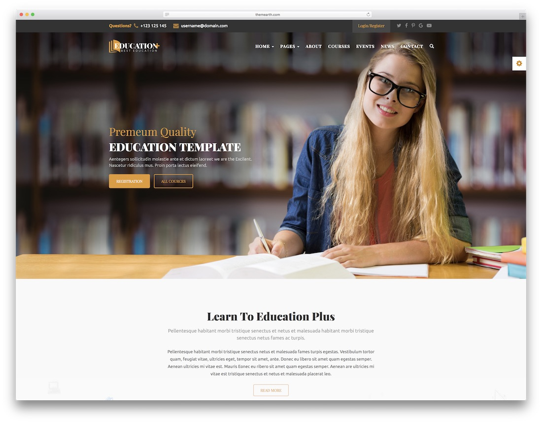 education plus school website template