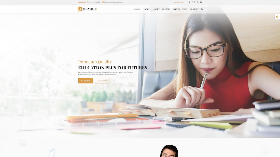 education plus website template