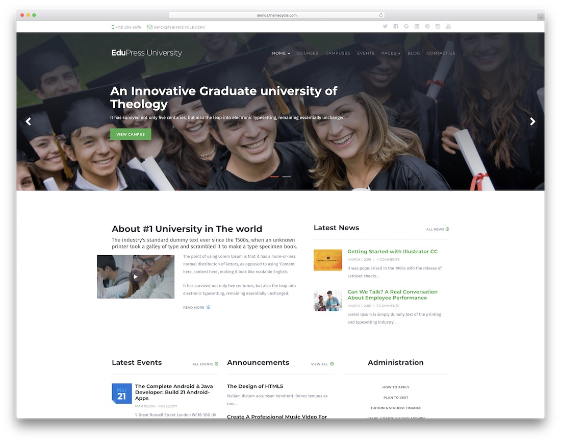 education press website template