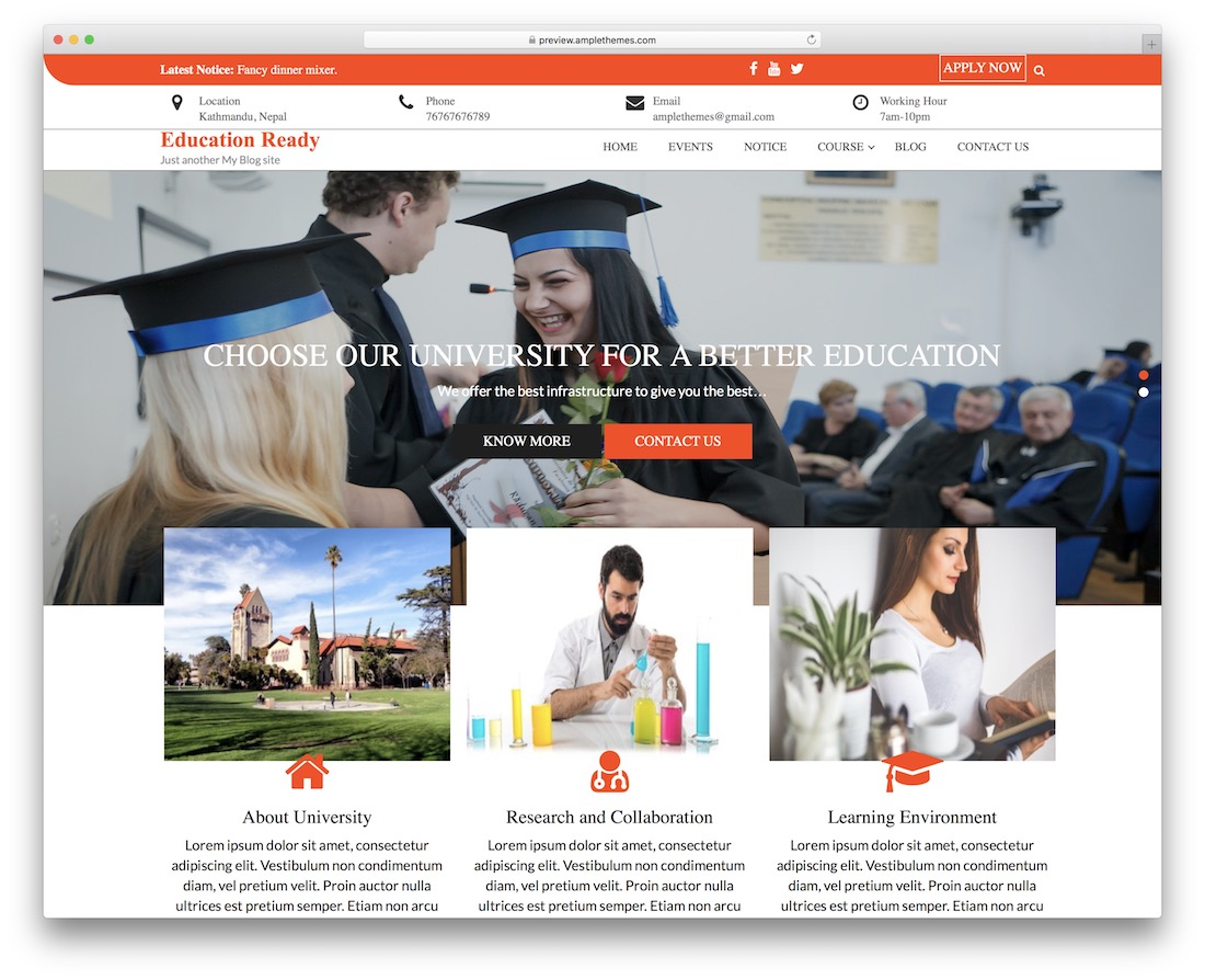 education ready free wordpress theme