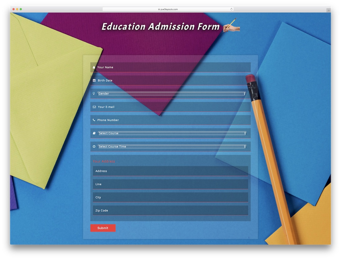 education free bootstrap registration form