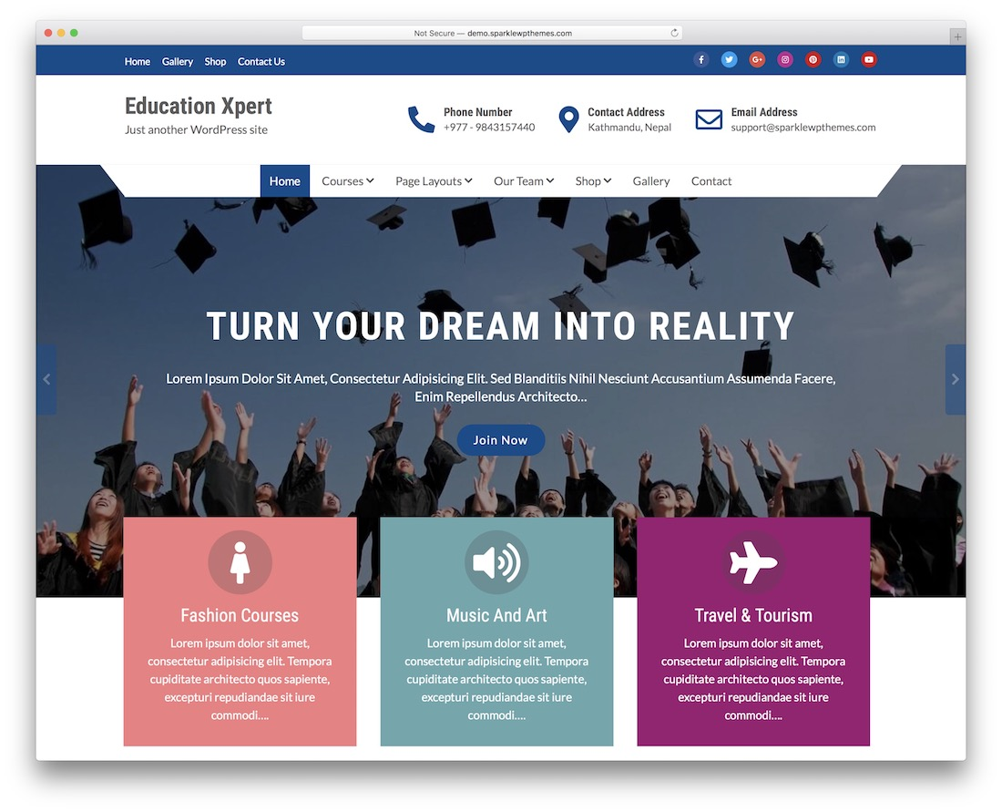 education xpert free wordpress theme