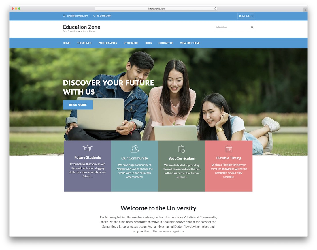 education zone free website template