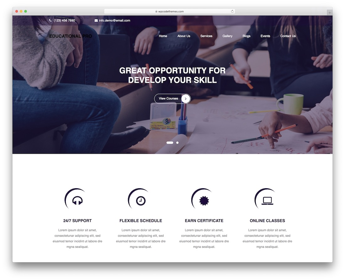 educational free wordpress theme