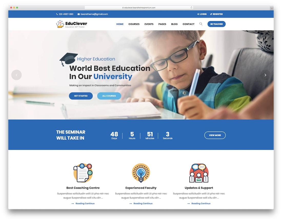 educlever education wordpress theme