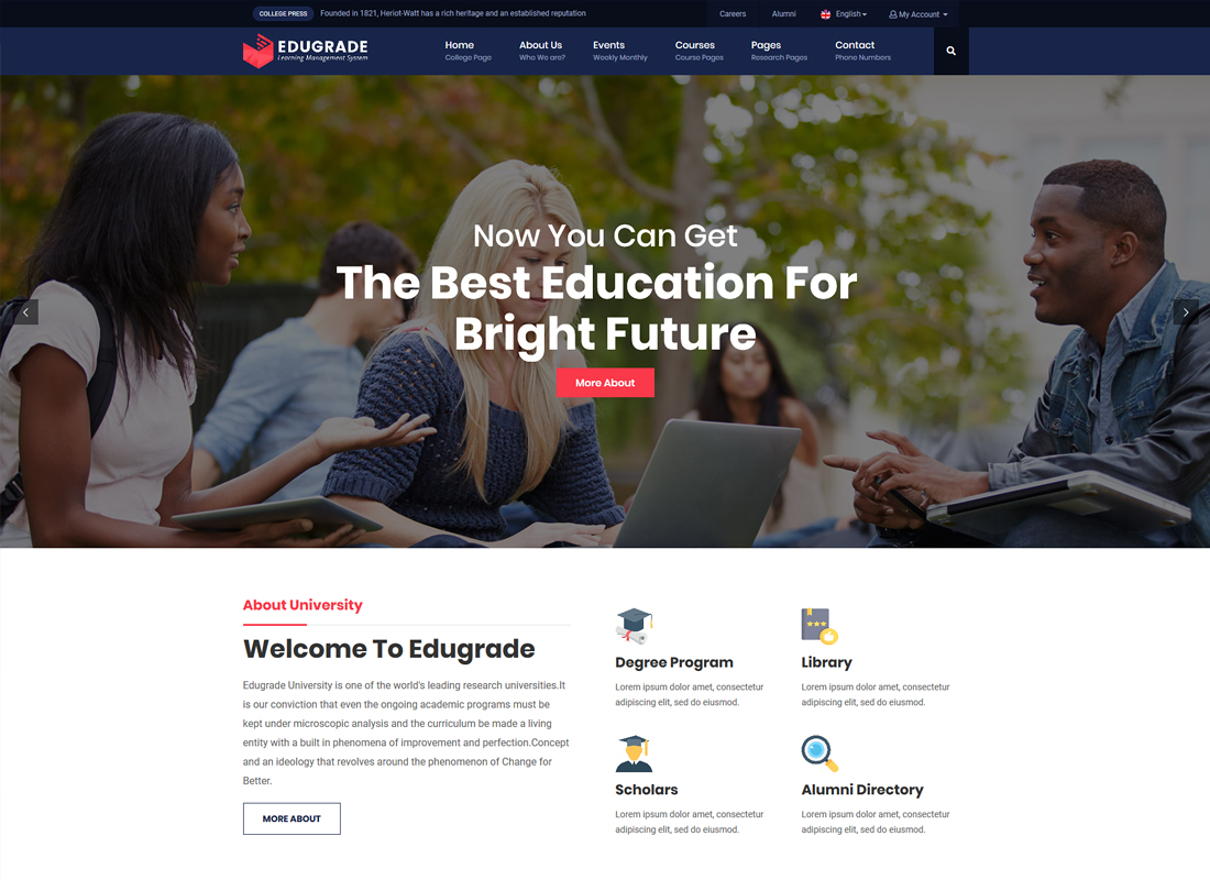 Edugrade | Education WordPress Theme