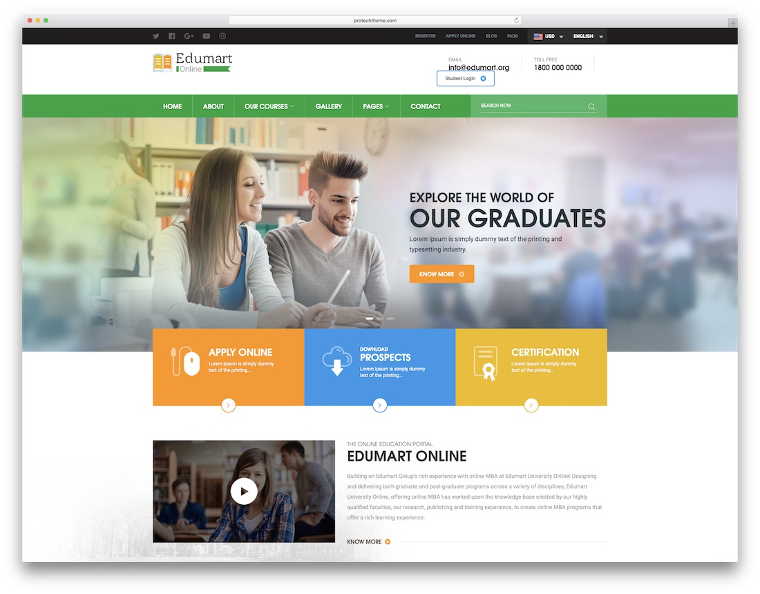 edumart school website template