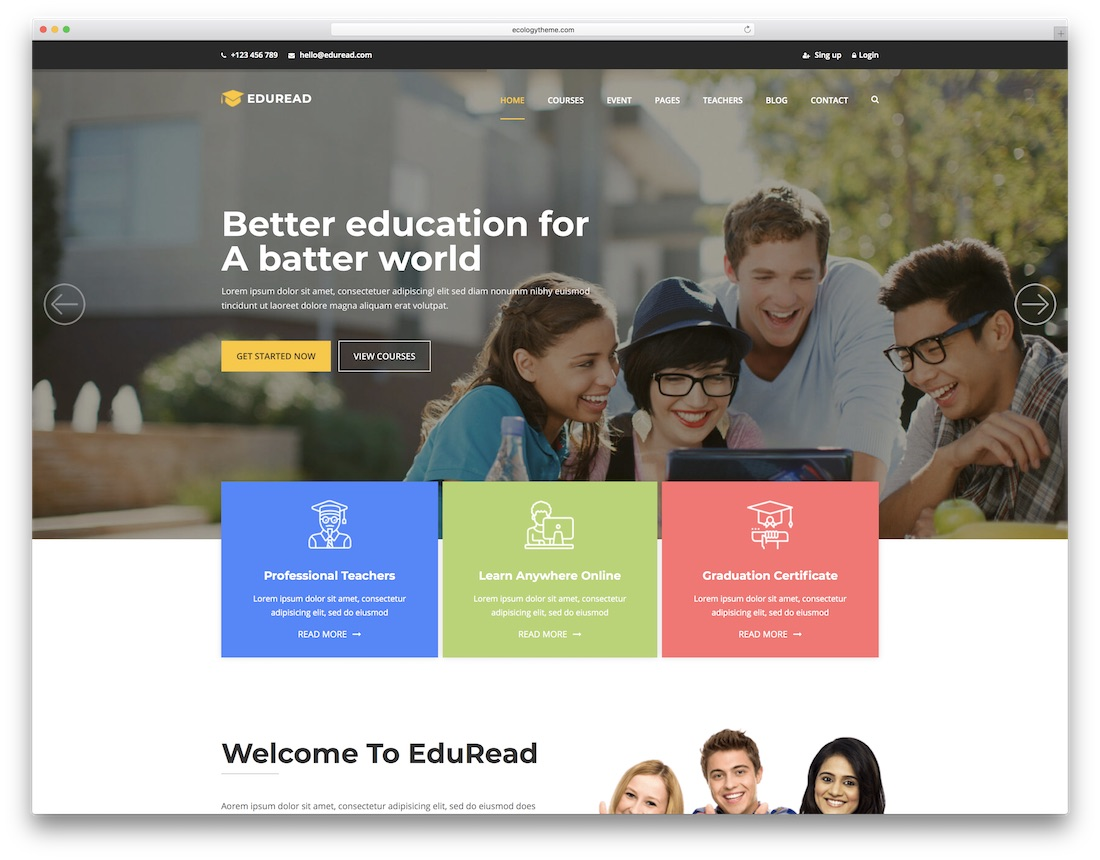 eduread school website template