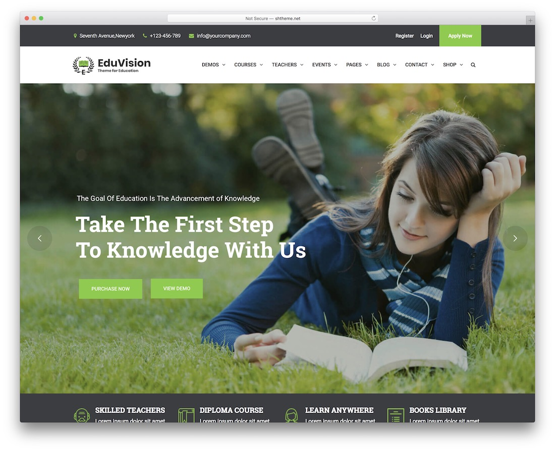 eduvision wordpress theme with slider