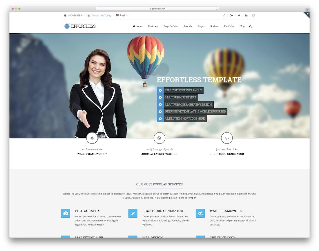 effortless multipurpose joomla business template