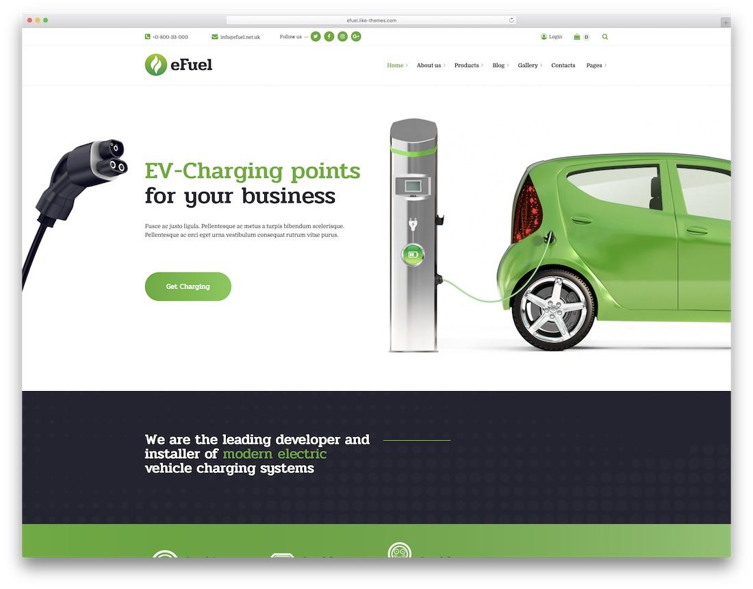 efuel car rental wordpress theme