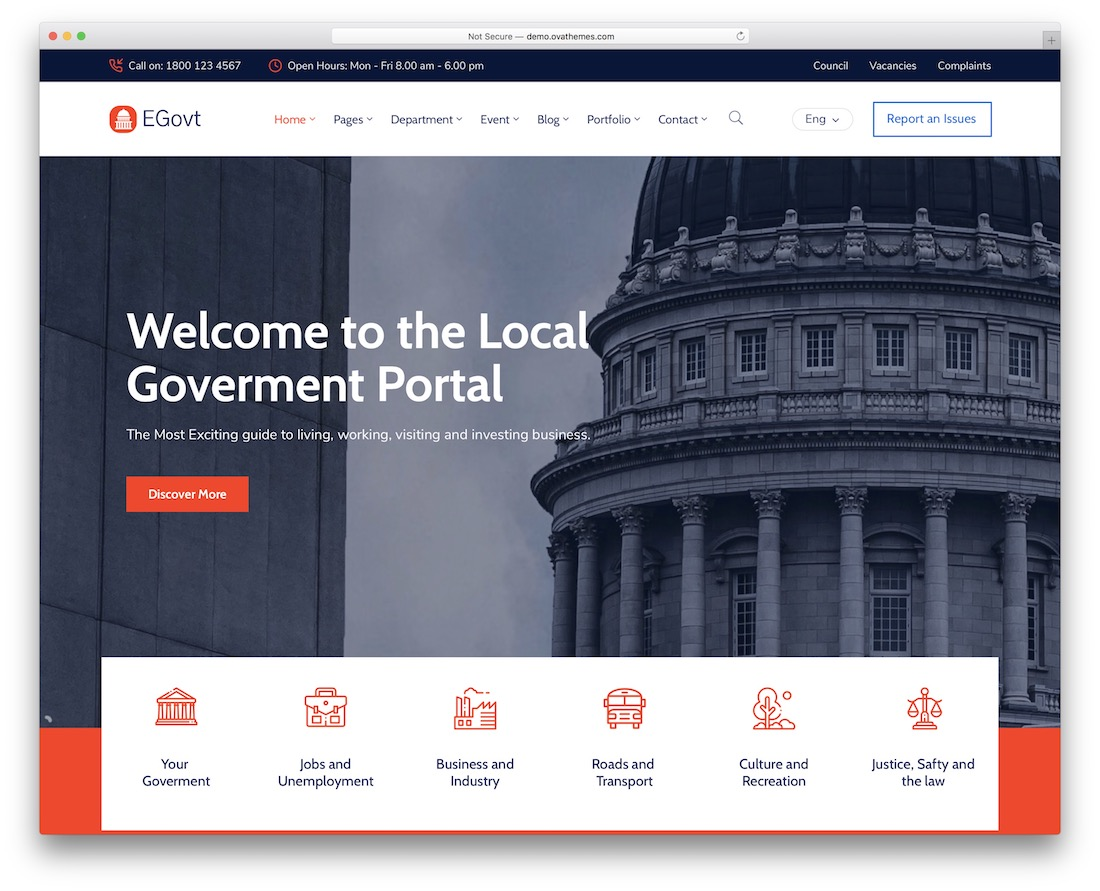 egovt political government wordpress theme